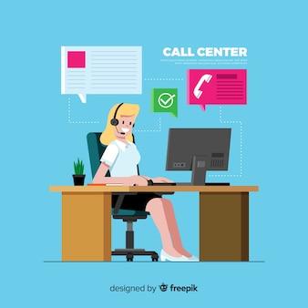Call center sfondo design piatto