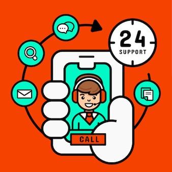 Call center sul concetto mobile, supporto al servizio clienti da cellulare per affari, illustrazione vettoriale moderno