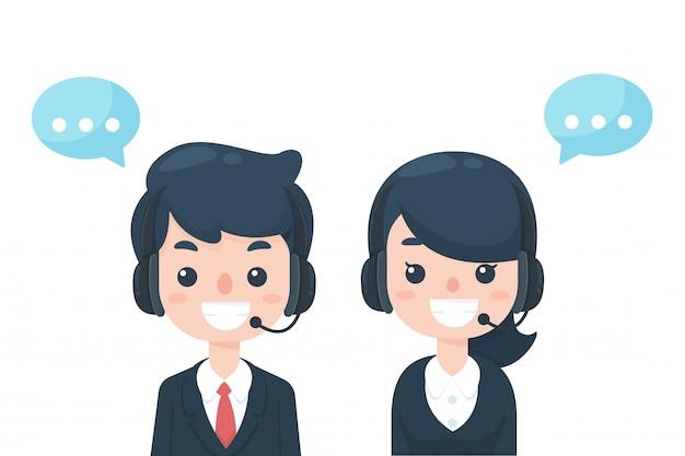 Callcenter personale di cartone animato vestito in abito educato aspettando al telefono per ricevere i problemi dei clienti.