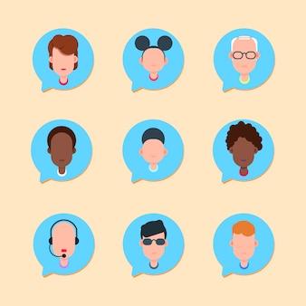 Callcenter supporto operatore online cliente e servizio tecnico icona chat concetto