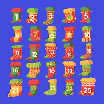 Callendar di avvento festivo design piatto
