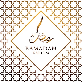 Calligrafia araba di ramadan kareem (generoso ramadan) con sfondo di ornamento