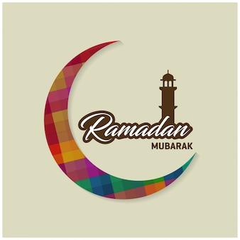Calligrafia araba islamica del testo ramadan kareem con la luna crescente su sfondo blu per il mese santo della comunità musulmana