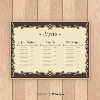 Calligrafia d'epoca modello elegante menu
