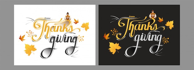 Calligrafia di carte happy thanksgiving con uccello tacchino e foglie di acero su in due colori.
