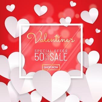 Calligrafia di sfondo rosso vendita di san valentino, cornice di vetro bianco, taglio di carta