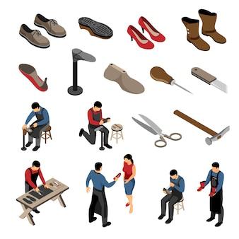 Calzolaio isometrico con vari modelli di scarpe per uomo e donna con personaggi umani