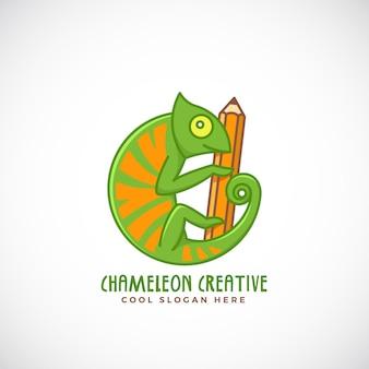 Camaleonte creativo. stile linea segno, emblema o modello di logo. rettile su un simbolo del concetto di matita.