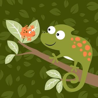 Camaleonte e vettore di cartone animato rana