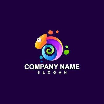 Camaleonte logo design illustrazione vettoriale