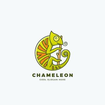 Camaleonte sul ramo a forma di cerchio. stile linea segno, emblema o modello di logo. rettile simbolo.