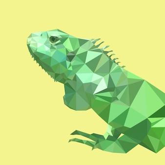 Camaleonte verde poligonale, animale triangolo poligonale