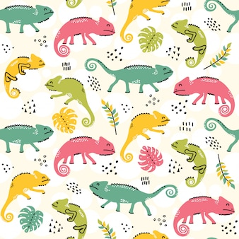 Camaleonti seamless pattern design