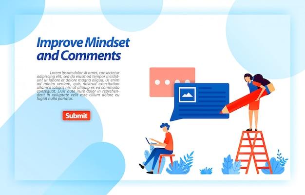 Cambia e migliora la mentalità e i commenti dell'utente nell'utilizzo del servizio per ottenere consigli, feedback e supporto migliori da parte dell'utente. modello web della pagina di destinazione