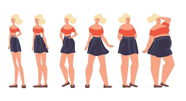 Cambiamento di forma della forma del corpo della donna, peso, effetto dieta. tipo di figura femminile impostato.