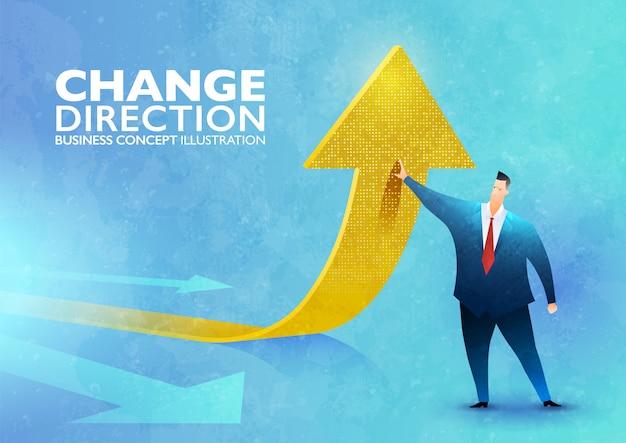 Cambiamento di un'illustrazione di concetto di direzione con un uomo d'affari che cambia la direzione di un segno della freccia verso l'alto.