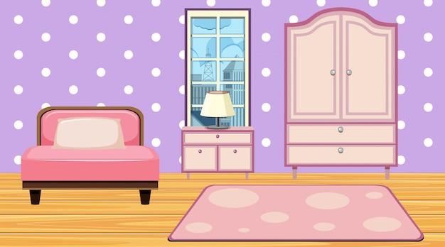 Camera con mobili e moquette rosa