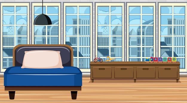 Camera con safa blu e ripiano in legno