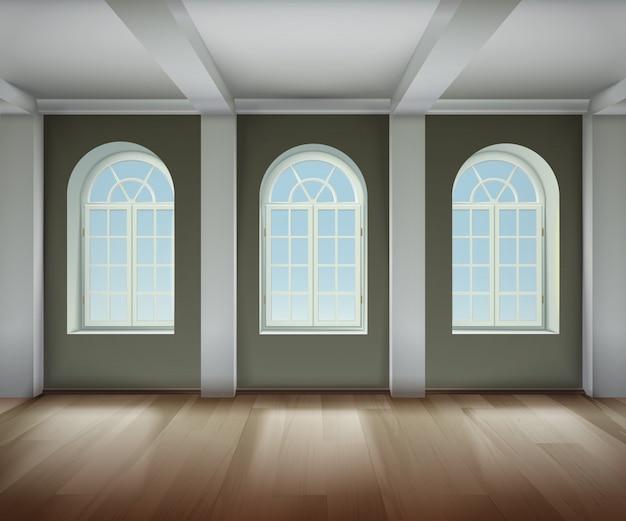 Camera con sfondo di finestre ad arco