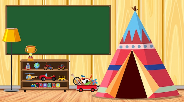 Camera con tenda e molti giocattoli