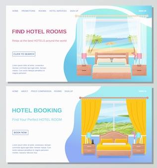 Camera d'albergo. illustrazione. interno camera da letto.
