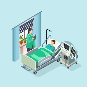 Camera d'ospedale moderna isometrica, reparto con paziente maschio a letto
