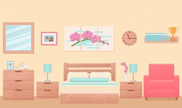 Camera da letto, camera d'albergo interno con letto. illustrazione.
