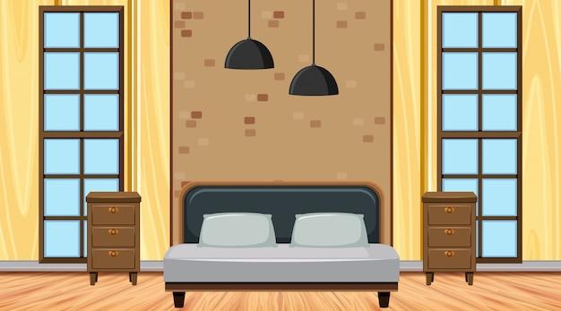 Camera da letto con cassetti e luce
