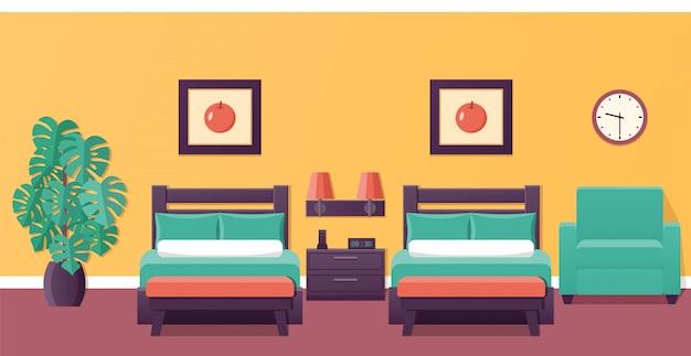 Camera da letto con due letti, design piatto,