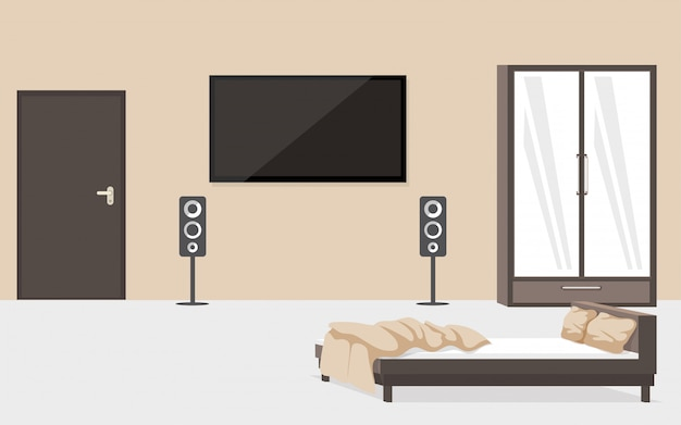Camera da letto contemporanea che fornisce illustrazione piana. moderna camera appartamento senza persone, lussuoso design degli interni con numero di hotel. letto sfatto e grande televisore appeso al muro