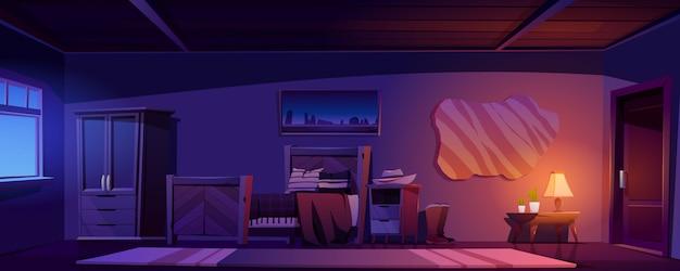Camera da letto da cowboy in casa rustica di notte