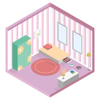 Camera da letto dell'illustrazione isometrica della stanza del bambino della ragazza