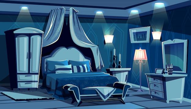 Camera da letto di notte con l'illustrazione di illuminazione della luce delle lampade. confortevole, vintage o moderno
