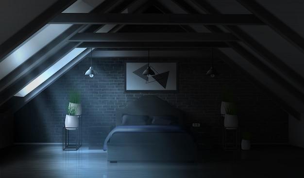 Camera da letto di notte in soffitta, interno vuoto al chiaro di luna