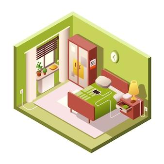 Camera da letto isometrica dell'interno della piccola stanza moderna con mobili in sezione trasversale.