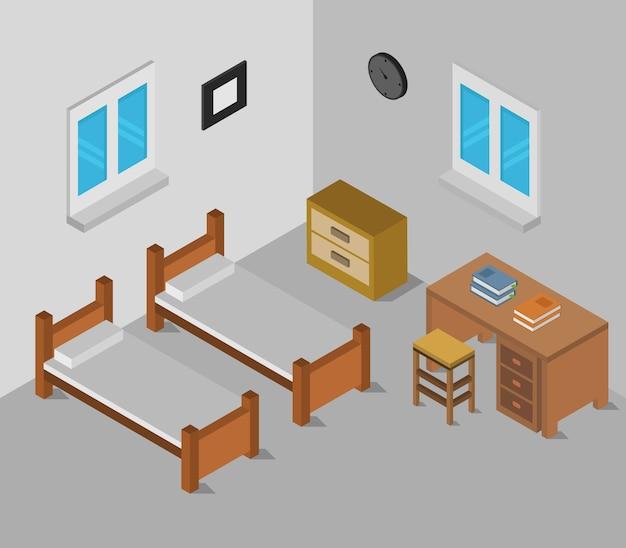 Camera da letto isometrica
