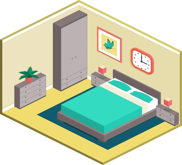 Camera da letto moderna in stile isometrico.