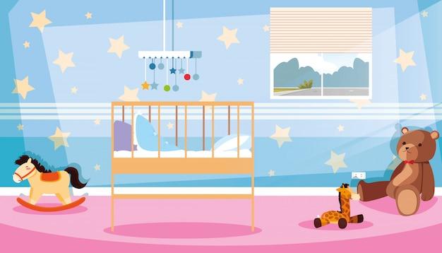 Camera da letto per bambini con decorazioni e giocattoli