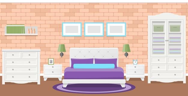 Camera da letto piatta. illustrazione. sfondo con muro di mattoni.
