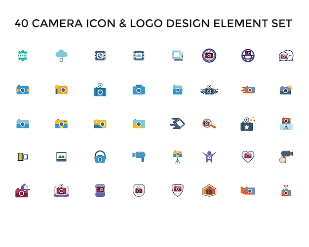 Camera icon logo design set