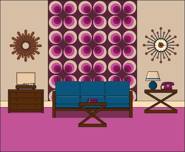 Camera in appartamento. retro salone interno s in linea arte. illustrazione lineare. grafica. spazio domestico vintage dalla linea sottile con divano, giradischi e telefono. attrezzatura per la casa.