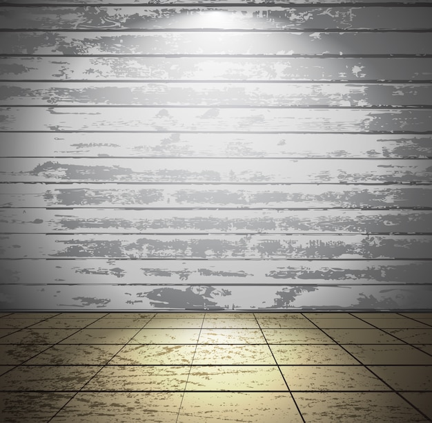 Camera in legno bianco con pavimento piastrellato