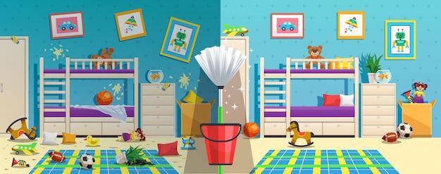 Camera per bambini disordinata con mobili e oggetti interni prima e dopo la pulizia dell'appartamento