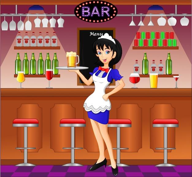 Cameriera al pub, caffè o bar
