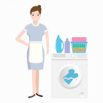 Cameriera con lavatrice, detersivo e stoffa