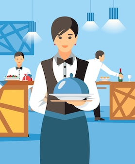 Cameriera con piatto caldo e coperchio cartoon character