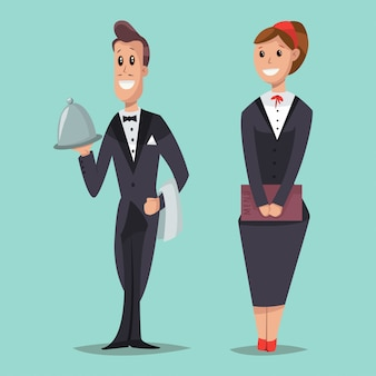 Cameriera con un menu e un cameriere con un vassoio personaggi dei cartoni animati