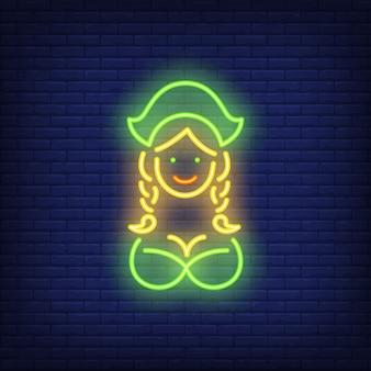 Cameriera di oktoberfest sulla priorità bassa del mattone. stile neon