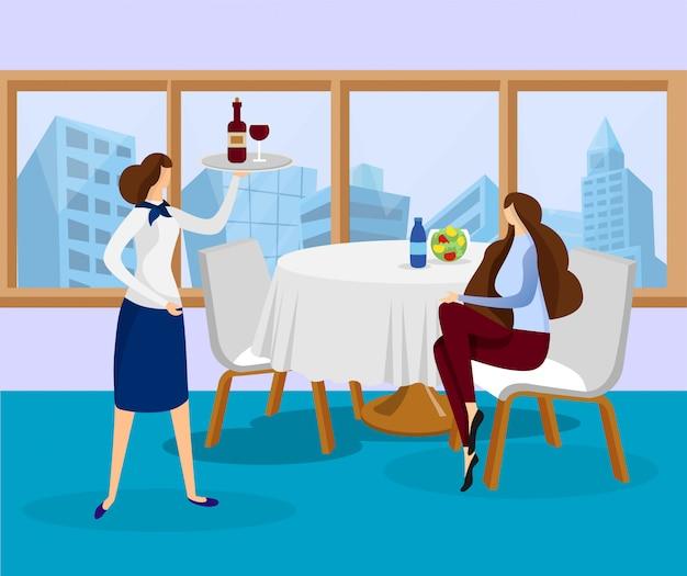 Cameriera portare il vassoio con la bottiglia di vino per il cliente.