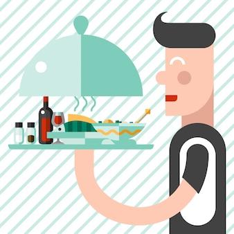 Cameriere con illustrazione del vassoio
